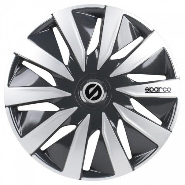 4-Delige Sparco Wieldoppenset Lazio 15-inch grijs/zilver