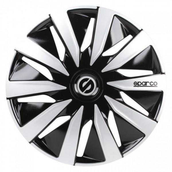 4-Delige Sparco Wieldoppenset Lazio 16-inch zwart/zilver
