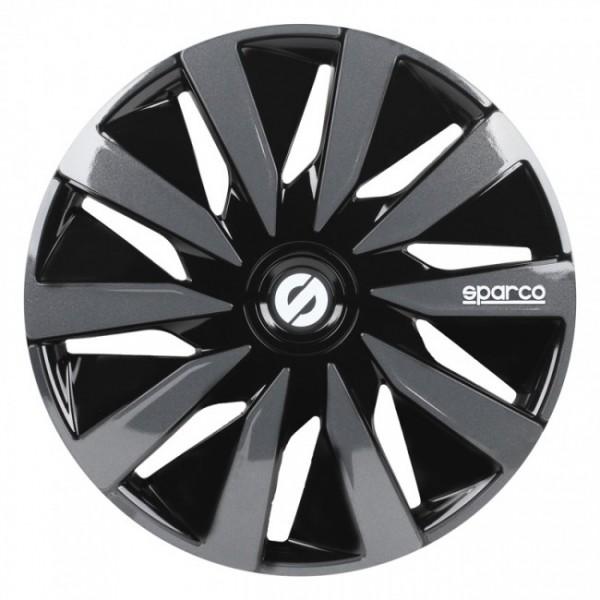 4-Delige Sparco Wieldoppenset Lazio 14-inch zwart/grijs