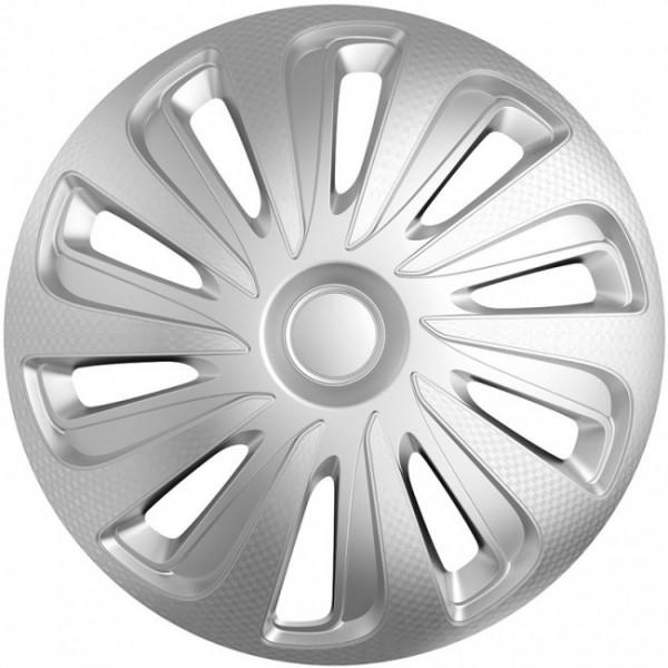 4-Delige Wieldoppenset Caliber 13-inch zilver carbon-look
